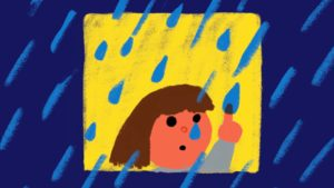 Person aware of rain and emotions