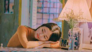 Girl laying on table