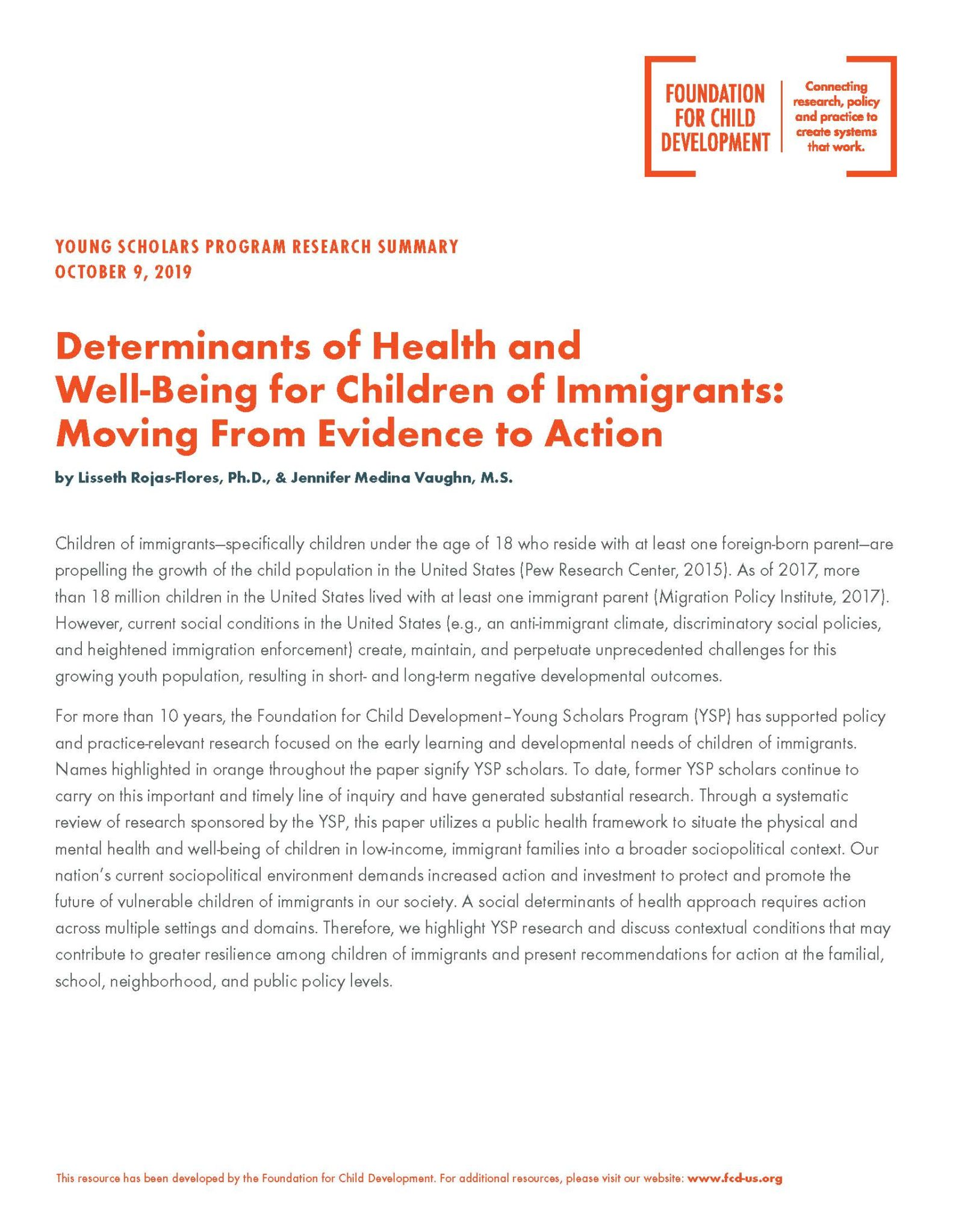 Preview: Determinants of Health and Well-being in Children of Immigrants