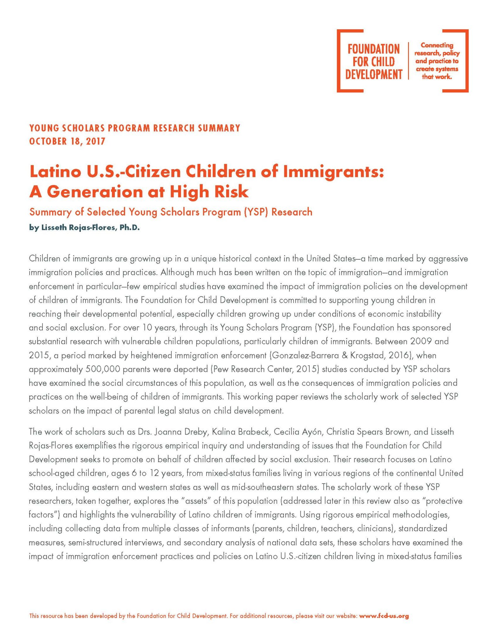 Preview: Latino US-Citizen Children of Immigrants: A Generation at High-Risk