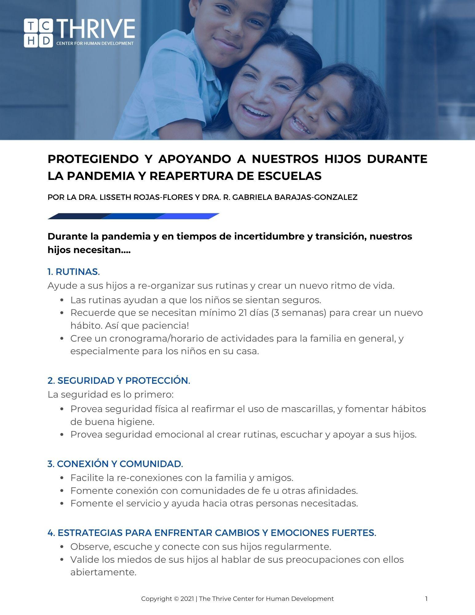 Rojas-Flores & Barajas-Gonzalez (2021) Protegiendo y Apoyando a Nuestros Hijos durante la Pandemia